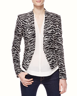 Rebecca Taylor Tiger-Stripe Fitted Blazer