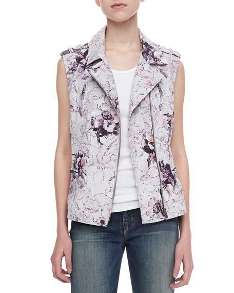 Floral Leather Moto Vest