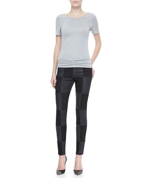 Kathy Checkered Skinny-Ankle Jeans
