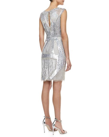 Sleeveless Beaded Deco Pattern Cocktail Dress