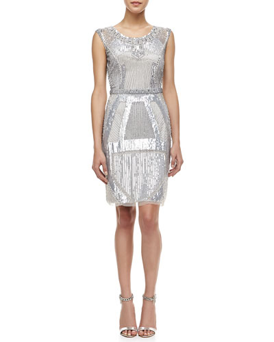 Aidan Mattox Sleeveless Beaded Deco Pattern Cocktail Dress