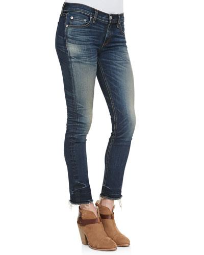 rag & bone/JEAN Alderly Crocheted-Seam Cropped Whiskered Jeans