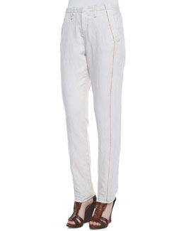 rag & bone/JEAN Portobello Separating-Seam Trousers, Natural