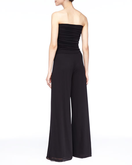 Strapless Fold-Over Jumpsuit, Black