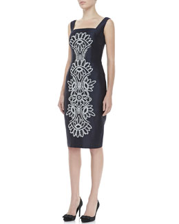 Tory Burch Lily Contrast-Embroidered Dress
