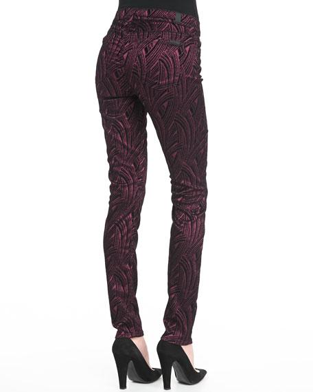 Flocked Sateen Skinny Pants