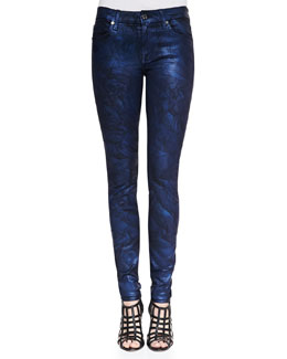 7 For All Mankind Crinkled Coated Skinny Jeans