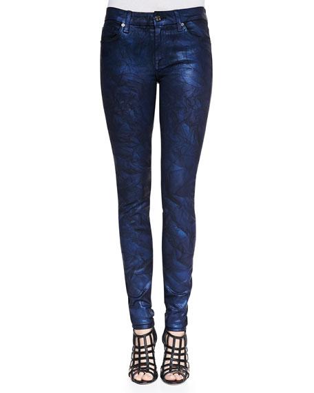 Crinkled Coated Skinny Jeans