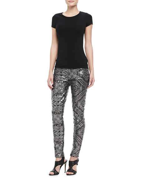 Sequined Printed Skinny Pants