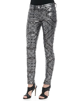 7 For All Mankind Sequined Printed Skinny Pants