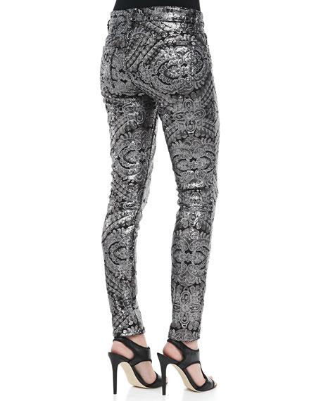Sequined Printed Skinny Pants