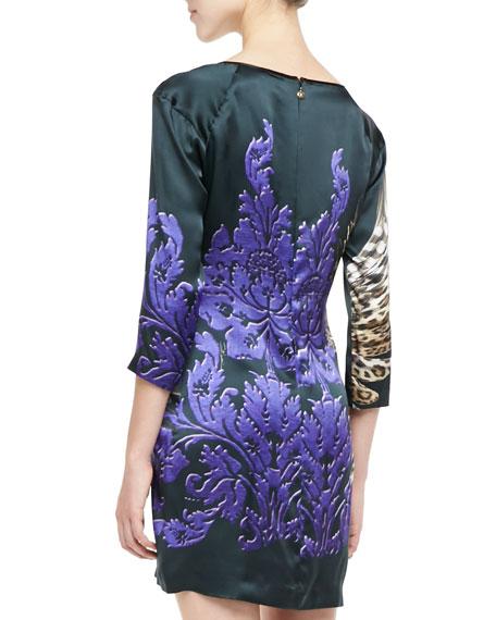 Leopard Swan 3/4-Sleeve Shift Dress