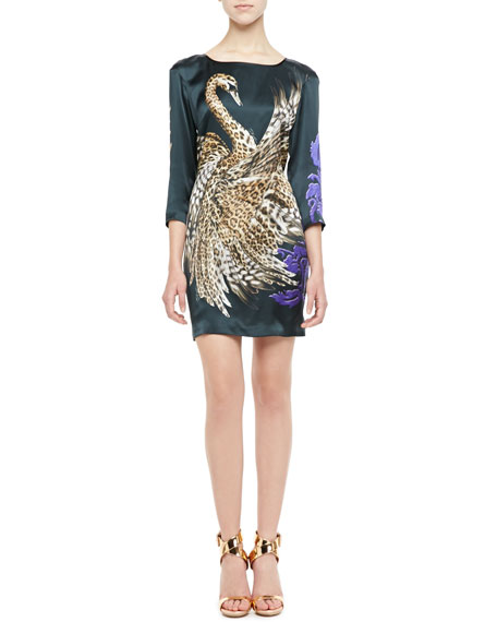 Leopard Swan 3/4-Sleeve Shift Dress
