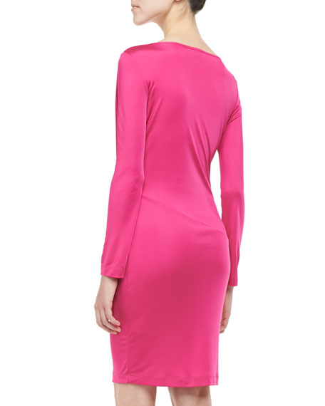 Drape-Front Long-Sleeve Jersey Dress, Fuchsia