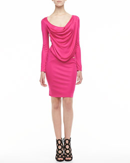 Just Cavalli Drape-Front Long-Sleeve Jersey Dress, Fuchsia