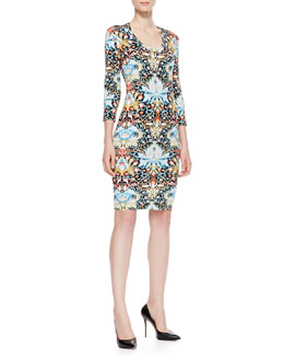 Just Cavalli Lotus Printed Jersey Sheath Dress, Black/Multi