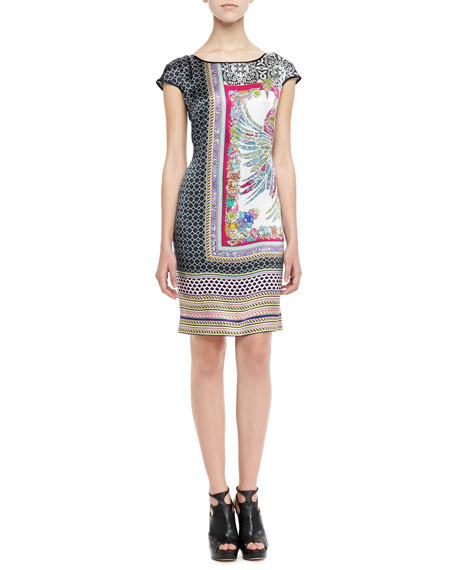 Printed Silk Dress, Fuchsia/Black/Multi
