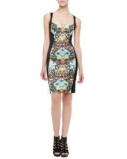 Just Cavalli Acanthus Contour-Paneled Dress, Black/Multi