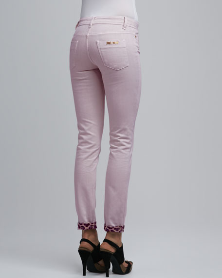 Leopard-Cuff Skinny Jeans, Light Violet