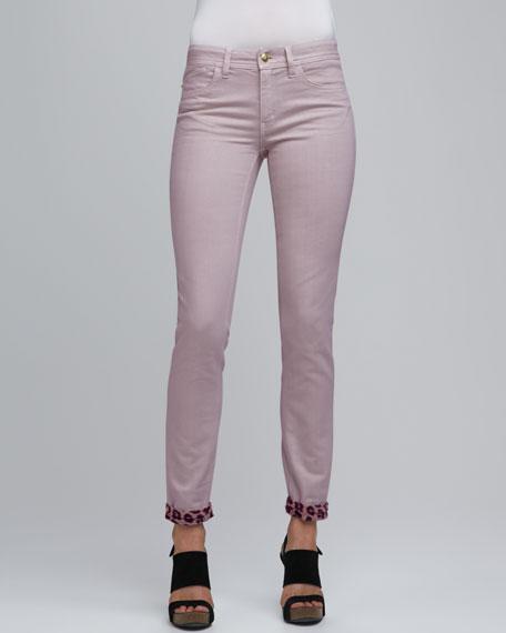 Leopard-Cuff Skinny Jeans, Light Violet