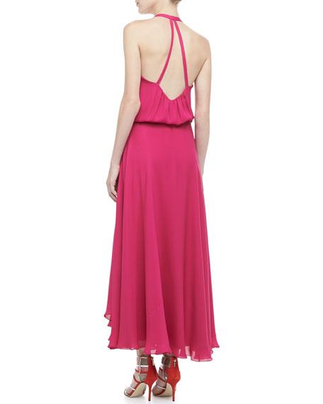 Halter Faux-Wrap Maxi Dress