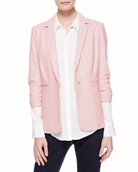 James Relaxed Leather Blazer