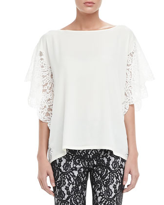 Cleo Lace-Sleeve Blouse