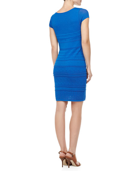 Cheryl Pointelle Shift Dress, Cobalt