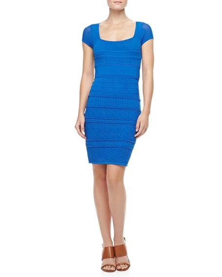 Cheryl Pointelle Shift Dress, Cobalt