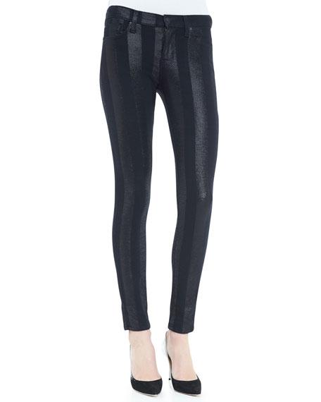 Nico Shimmer-Stripe Skinny Pants