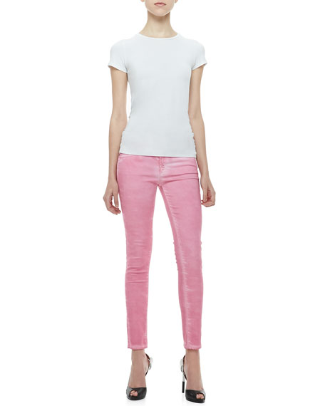 Coated Fitted Cropped Jeans