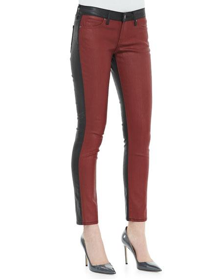 Split Denim/Coated Skinny Jeans, Red/Black