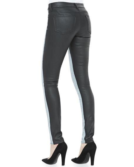 Split Denim/Coated Skinny Jeans, Frosted Indigo/Black