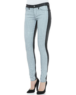 Rich and Skinny Split Denim/Coated Skinny Jeans, Frosted Indigo/Black