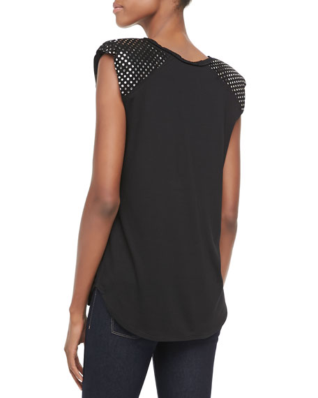 Stud-Shoulder Jersey Tee