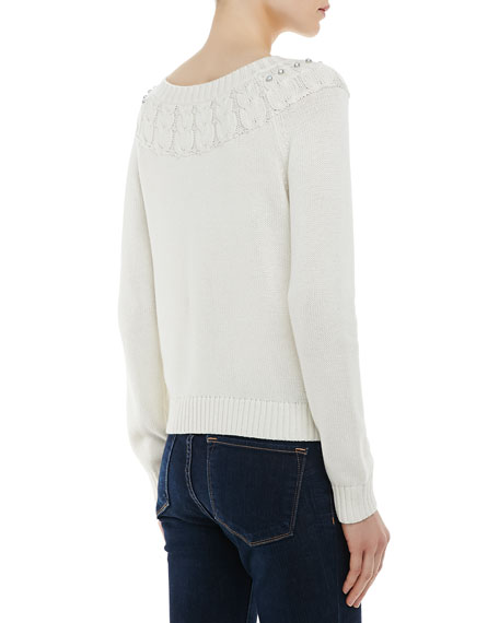 Rhinestone-Trim Owl-Stitched Knit Sweater