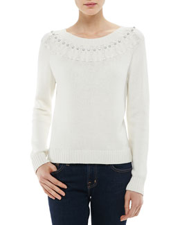 Milly Rhinestone-Trim Owl-Stitched Knit Sweater