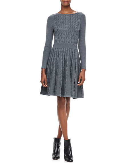 Cable-Knit Flared Dress