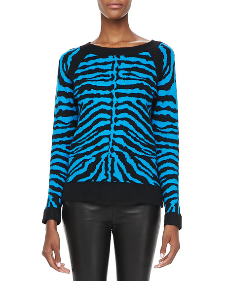 Zebra-Stripe Knit Sweater