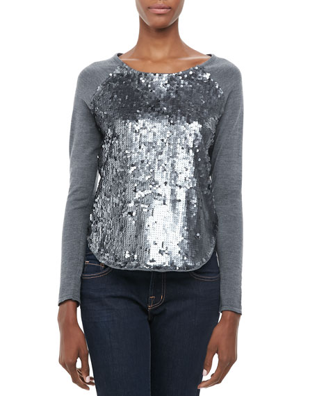 Sequin-Front Baseball Tee