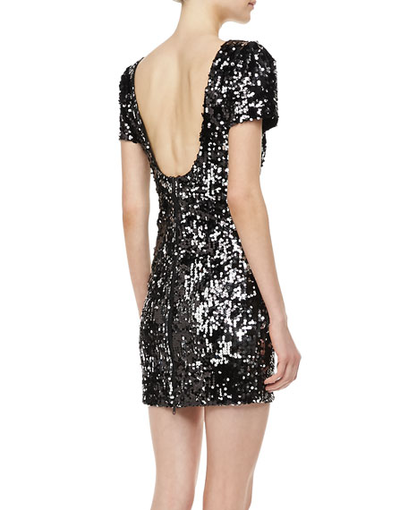 Sequined Scoop-Back Cocktail Dress
