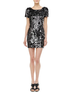 Milly Sequined Scoop-Back Cocktail Dress