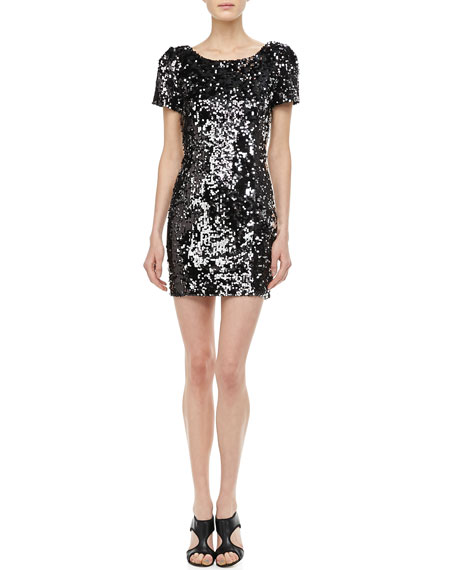 Sequined Scoop-Back Cocktail Dress