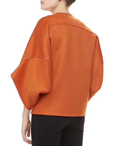 Melton Wool Bolero Jacket, Paprika