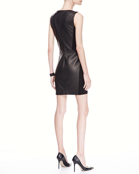Leather/Ponte Moto Dress