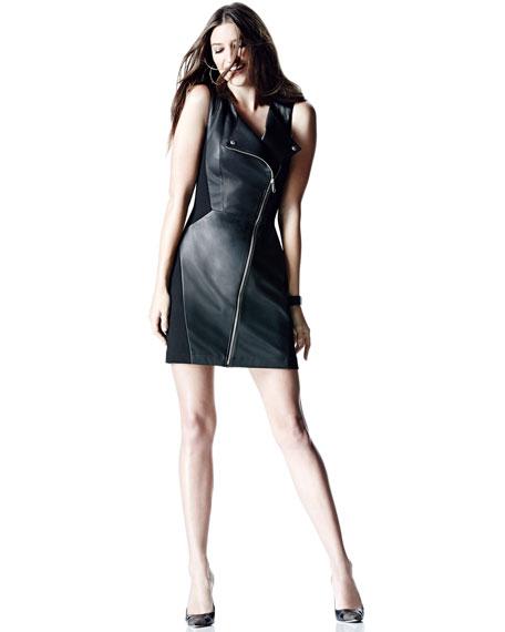 Leather/Ponte Moto Dress