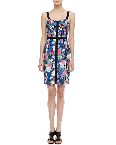 Clara Floral-Print Bustier Dress