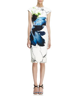 Reed Krakoff Printed Cap-Sleeve Dress