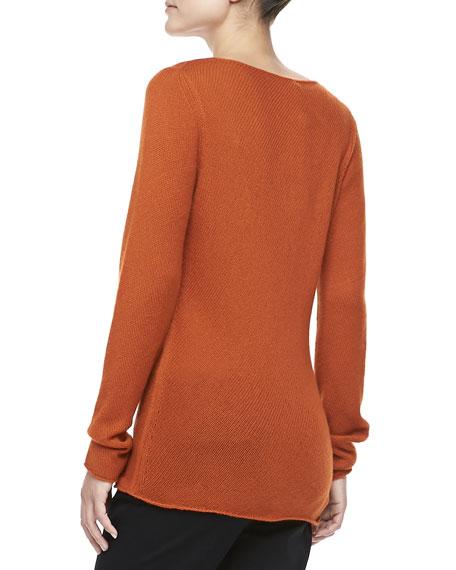 Bias-Knit Cashmere Sweater, Paprika