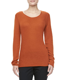 Michael Kors Bias-Knit Cashmere Sweater, Paprika